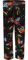 Black plush lounge pant with images of Stitch and space ships in red, yellow and blue