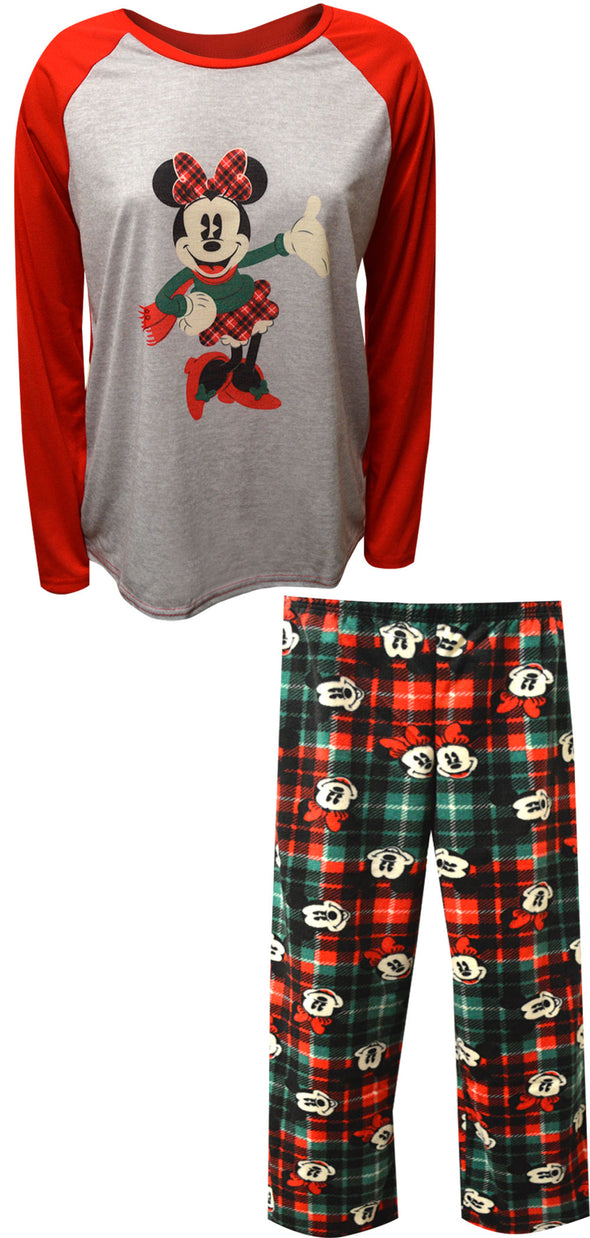 Minnie Mouse Christmas Plaid Women's Pajama Set