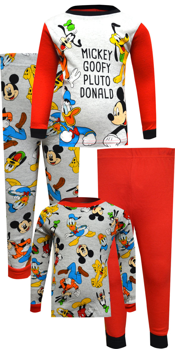 Disney Jr Mickey Goofy Pluto Donald 4 Pc Cotton Toddler Pajamas