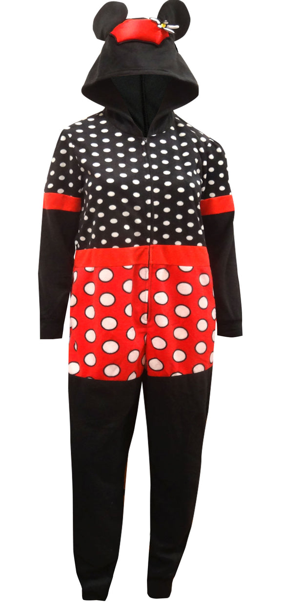 Dress Like Minnie Mouse Fleece Onesie Pajamas with Hood