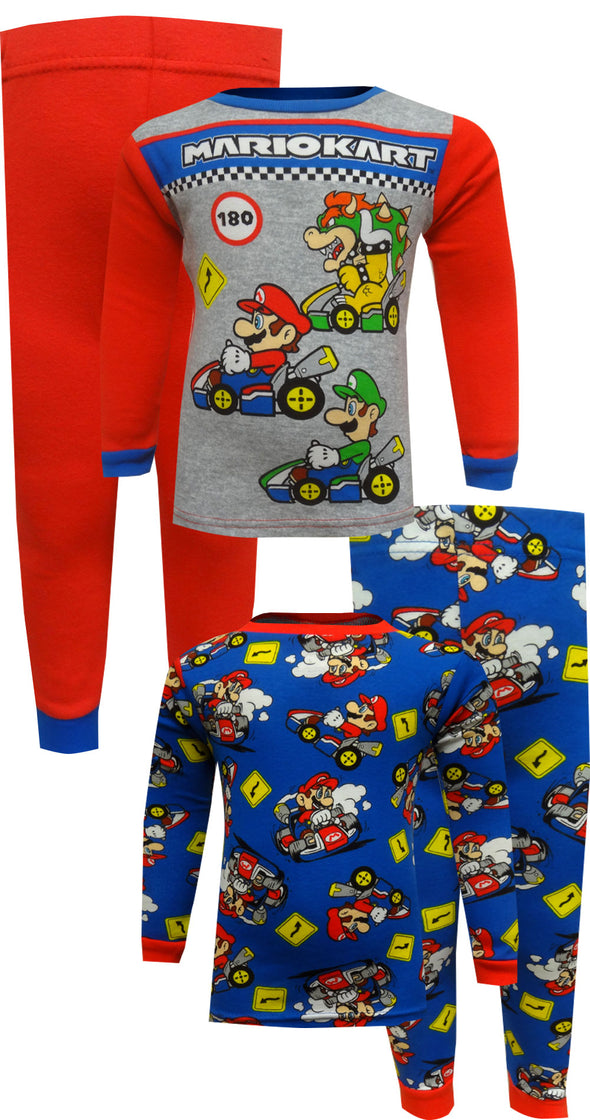 Super Mario Mariokart Mario Luigi Bowser 4 Piece Cotton Pajamas