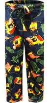 Navy blue pant with pineapples, Christmas lights and Spongebob in a winter hat