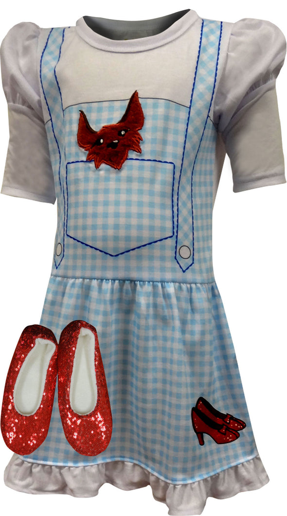 Wizard of Oz Dress Like Dorothy Girls Nightgown and Ruby Slippers