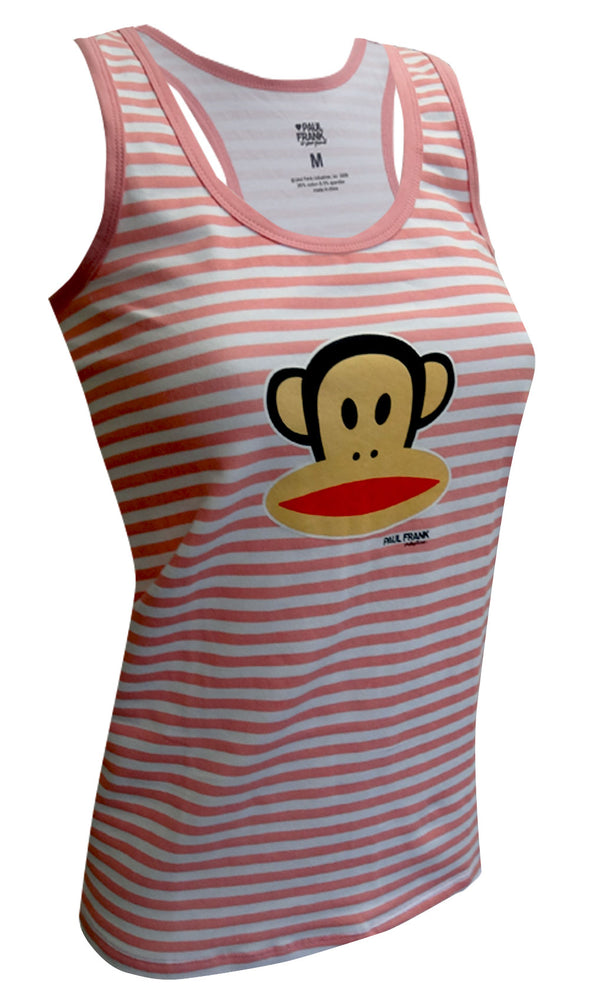 Paul Frank Striped Julius the Monkey Pink and White Racer Tank