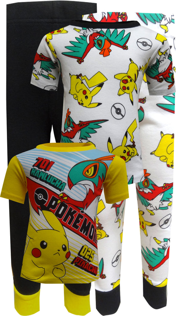 Pokemon Characters Cotton 4 Piece Pajamas Sz 4