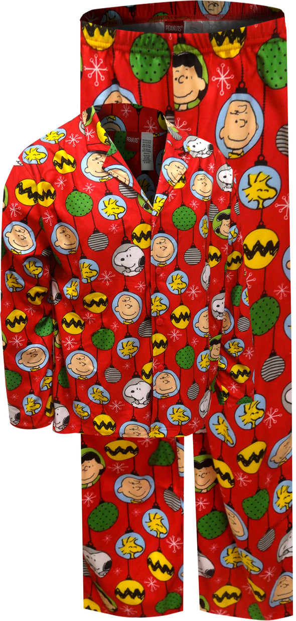 Peanuts Charlie Brown Christmas Ornaments Mens Pajama