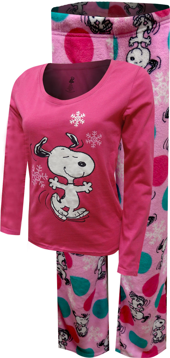 Peanuts Dancing Snoopy Junior Cut Pink Plush Pajama