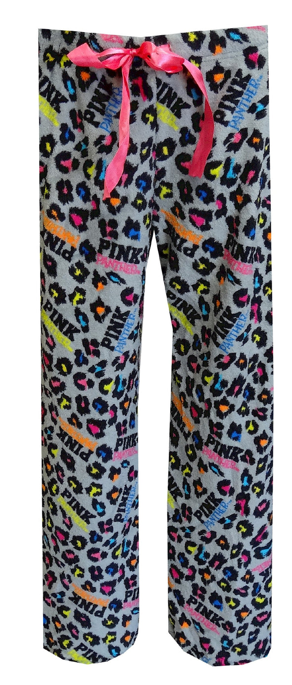 PINK Panther Neon Leopard Gray Plush Lounge Pant