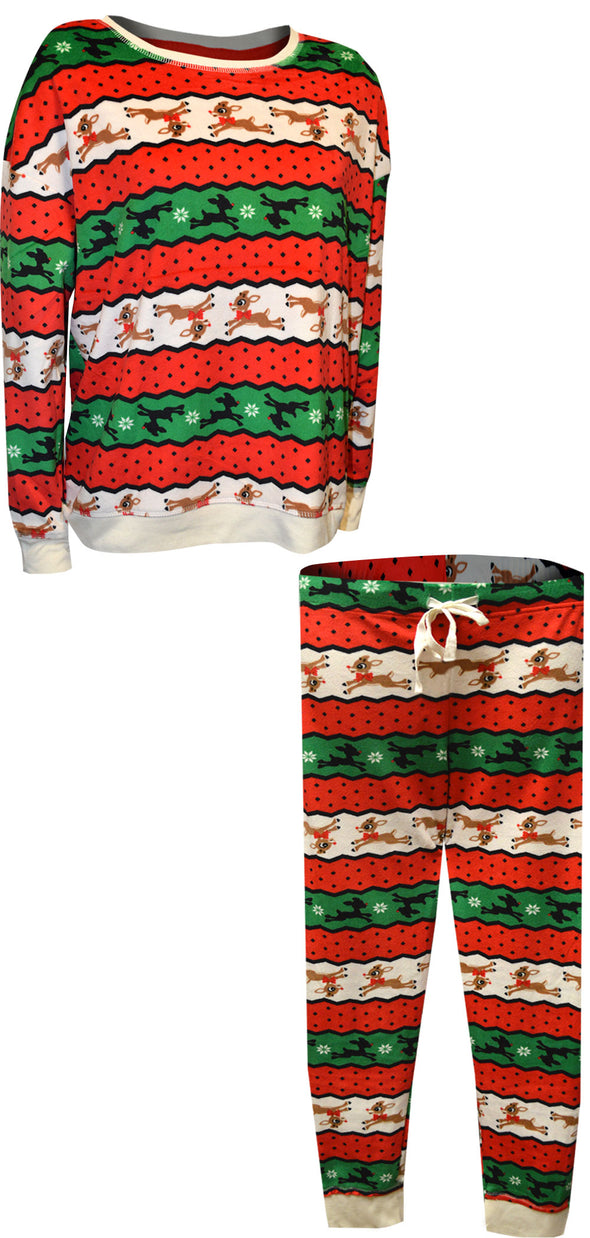 Rudolph The Red-Nosed Reindeer Striped Ladies Christmas Pajama