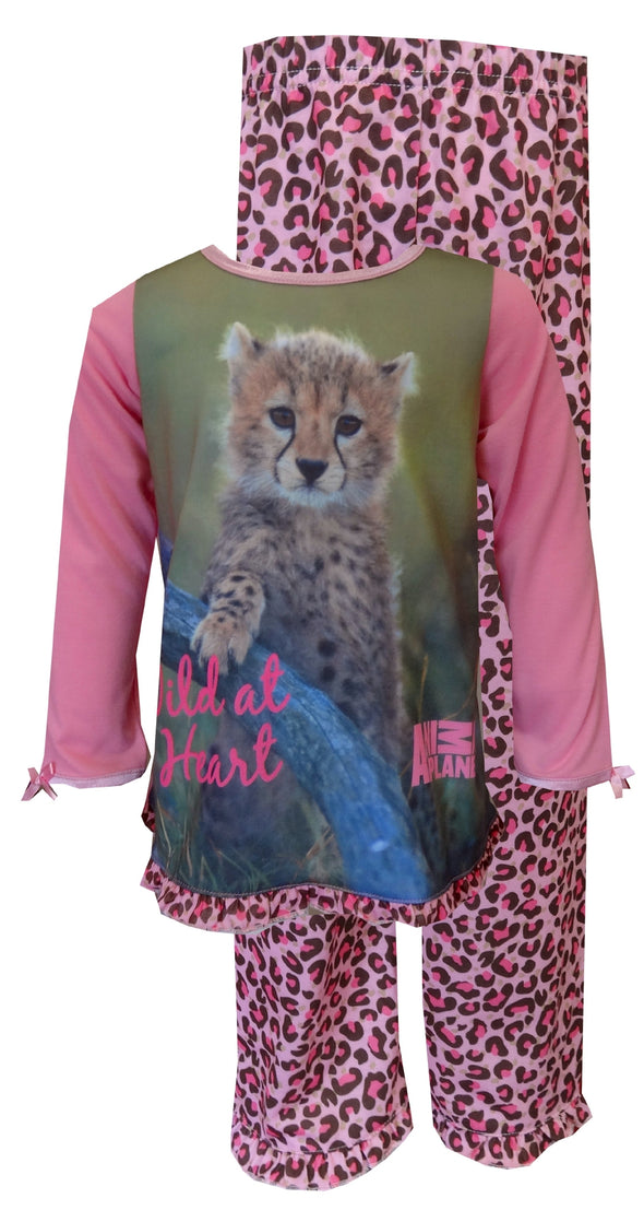 Cheetah Animal Lover Ruffled Toddler Pajama