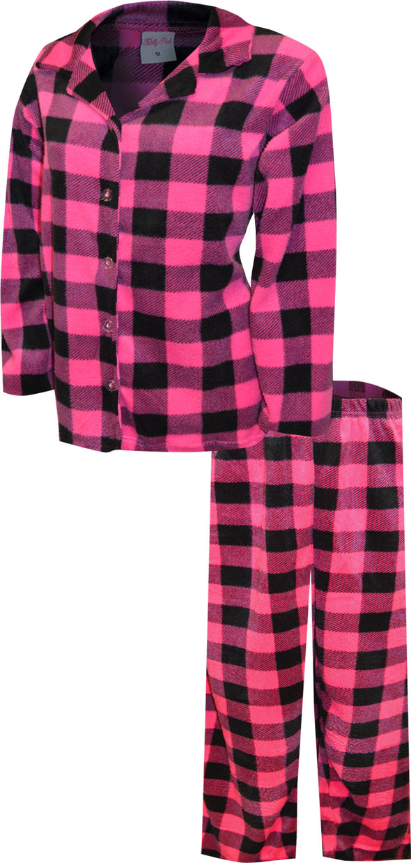 Hot Pink and Black Buffalo Plaid Plus Size Traditional Fleece Pajama