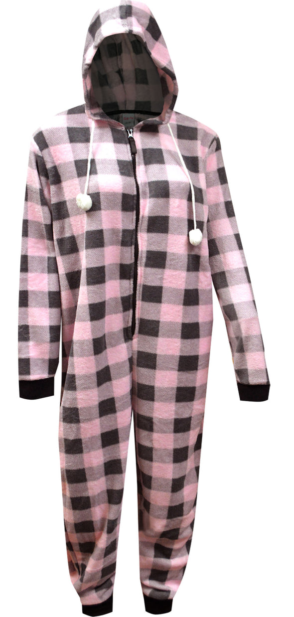 Soft Pink and Gray Buffalo Plaid Print Hooded Onesie