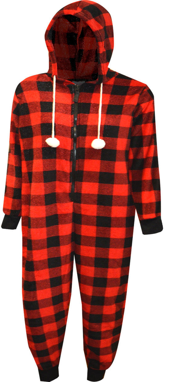 Red and Black Buffalo Plaid Print Hooded Onesie