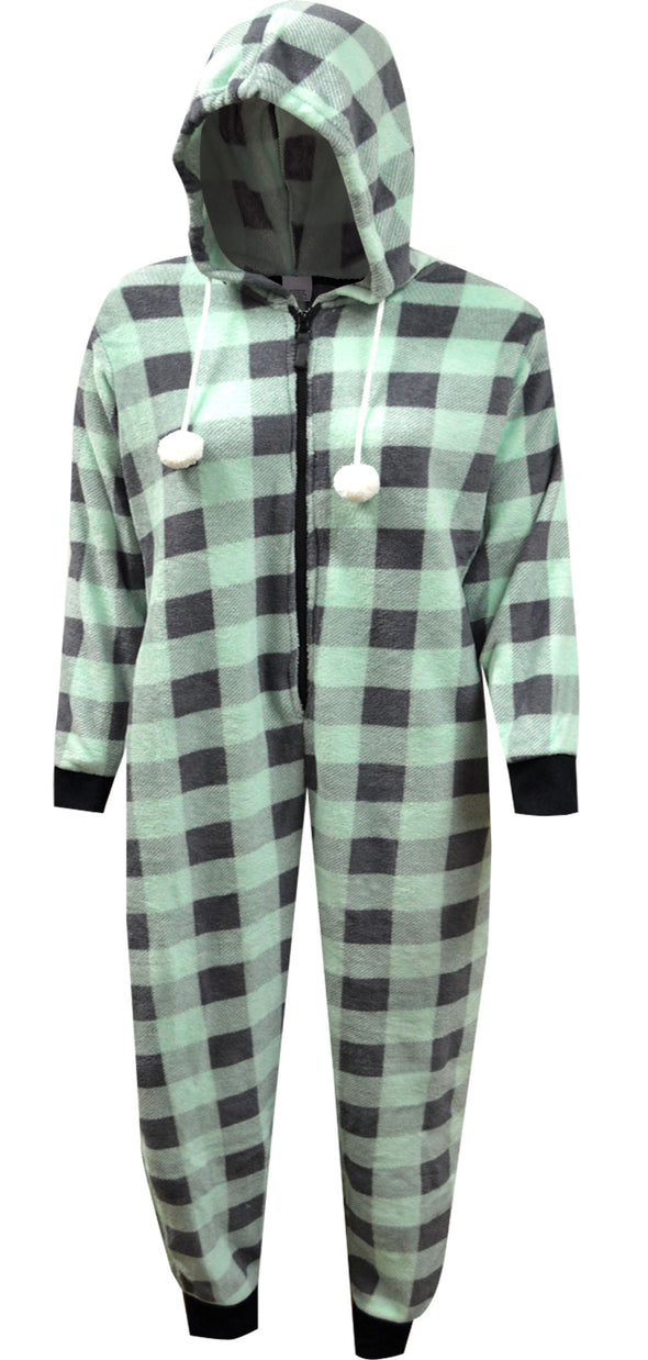 Mint Green and Gray Buffalo Plaid Print Plus Size Hooded Onesie
