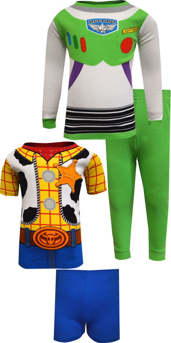 Toy Story Buzz Lightyear and Woody Cotton 4 Piece Pajamas