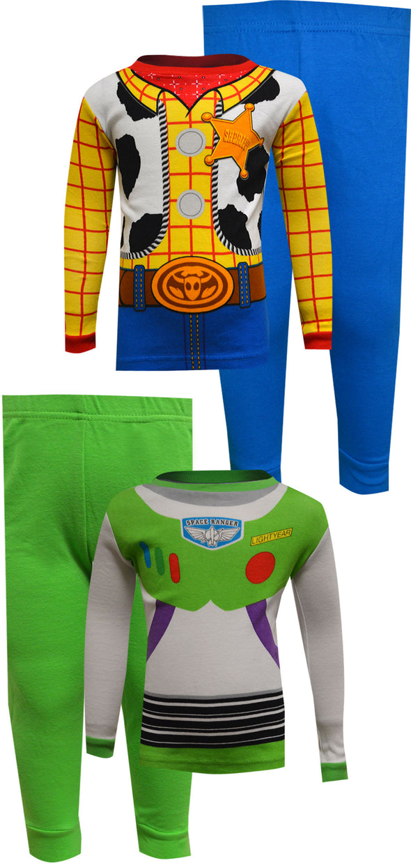 Toy Story Buzz Lightyear and Woody Cotton 4 Pc Infant Pajamas