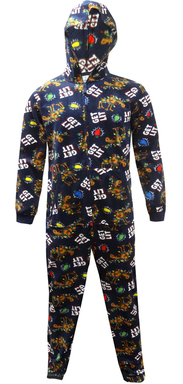 Get Lit Holiday Hooded One Piece Pajama