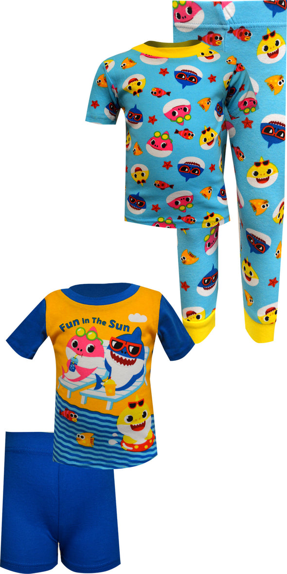 Baby Shark Fun in the Sun 4 Piece Cotton Infant Pajamas