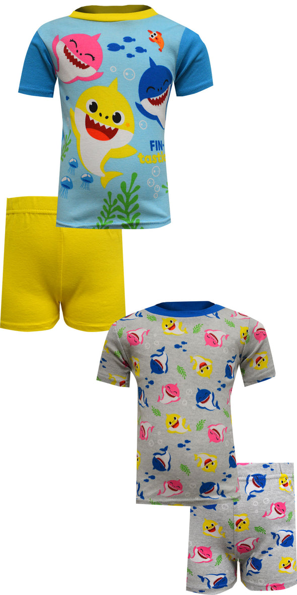 Baby Shark Fin-Tastic 4 Piece Cotton Toddler Pajamas