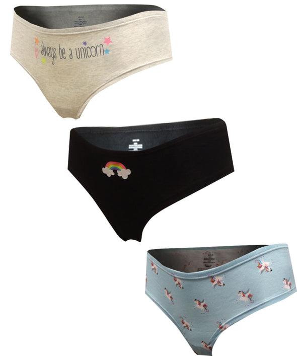 Unicorn 3 Pack Cotton Hipster Panty
