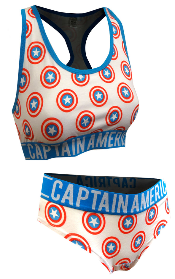 Marvel Comics Captain America Bra And Panty Set