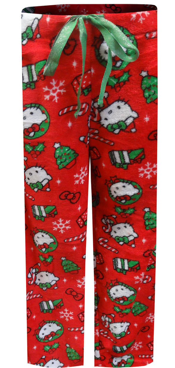 Hello Kitty Merry Christmas Kitty Red Plush Lounge Pants