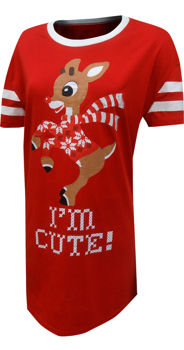 Rudolph The Red-Nosed Reindeer I'm Cute Plus Size Nightshirt