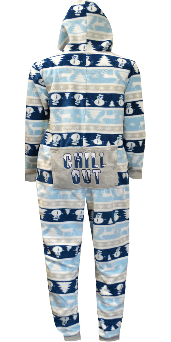 Chill Out Nordic Winter Onesie Hooded Pajama with Drop Seat