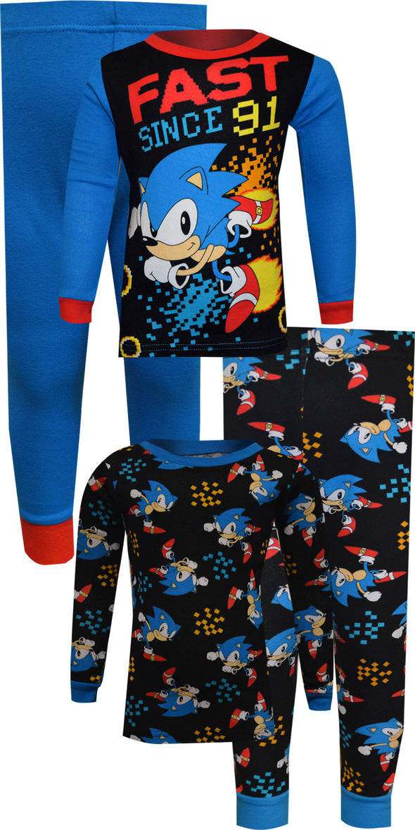 Sonic the Hedgehog Fast Since 91 Cotton 4 Piece Pajamas