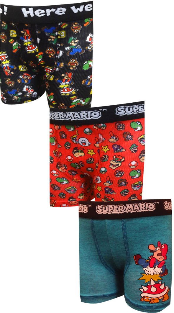 Super Mario Bros Character 3 Pack Athletic Boxer Briefs