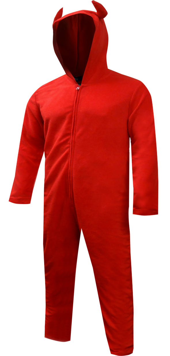 Unisex Hooded Red Devil One Piece Pajama