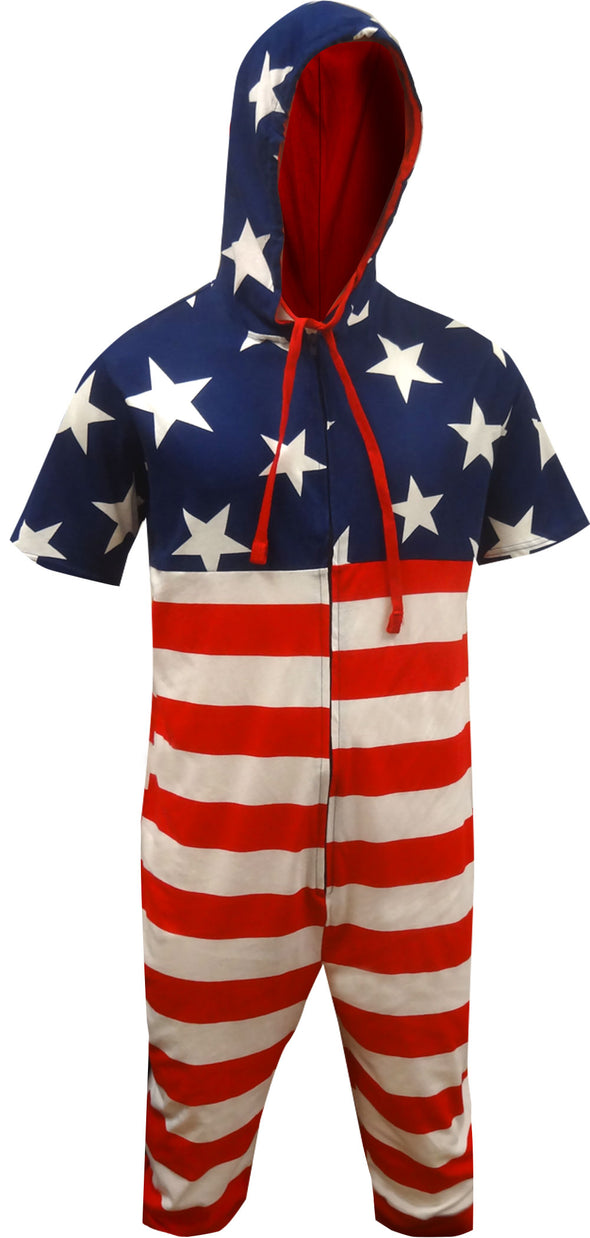 American Flag Hooded Cropped Union Suit Pajama