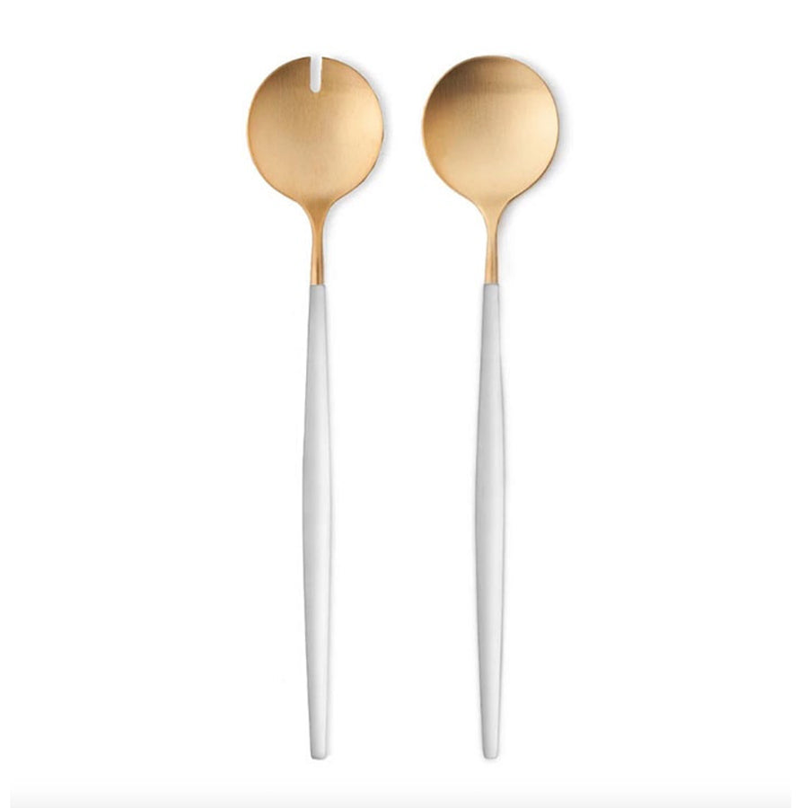Cutipol Goa Salad Servers / White and Gold