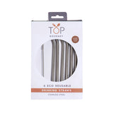 Stainless Steel Straws 6 Piece Set w / Cleaning Brush ED
