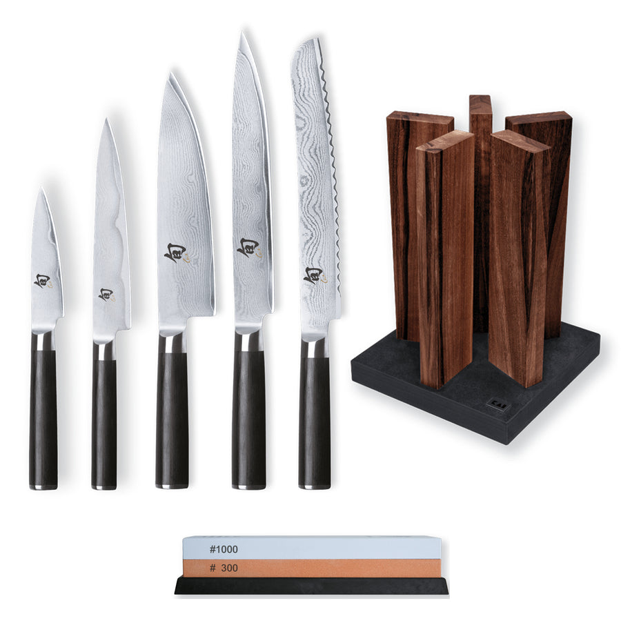 Kai Shun Classic 5 Knife, Whetstone and Block Set / Walnut Block