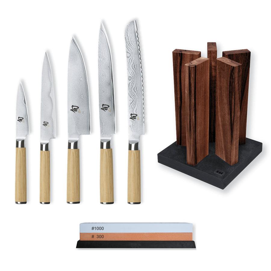 Kai Shun Classic White 5 Knife, Whetstone and Block Set / Walnut Block