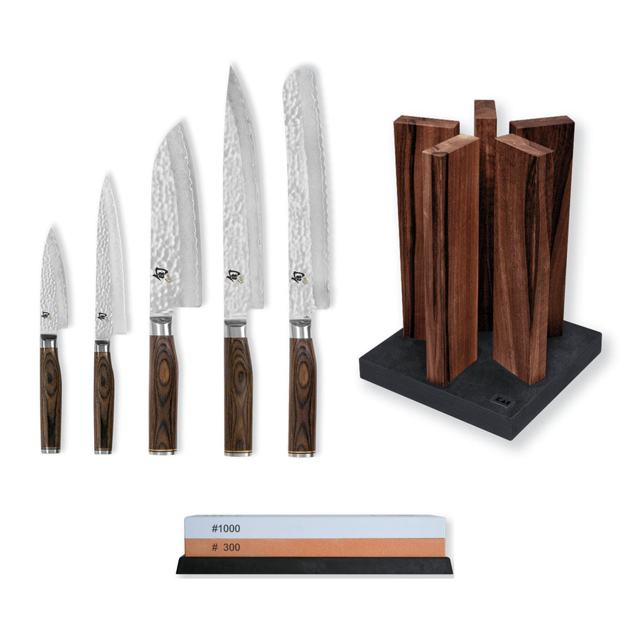 Kai Shun Premier 5 Knife, Whetstone and Block Set / Walnut Block