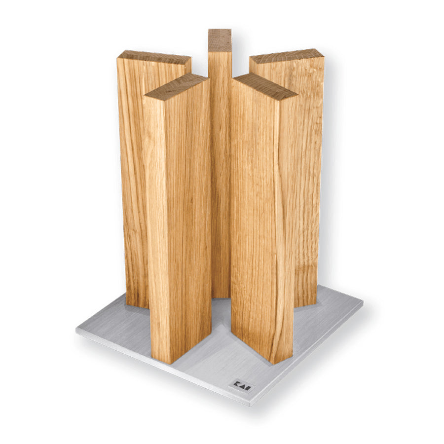 Kai Stonehenge 5 Pillar Oak Knife Block with Stainless Steel Base