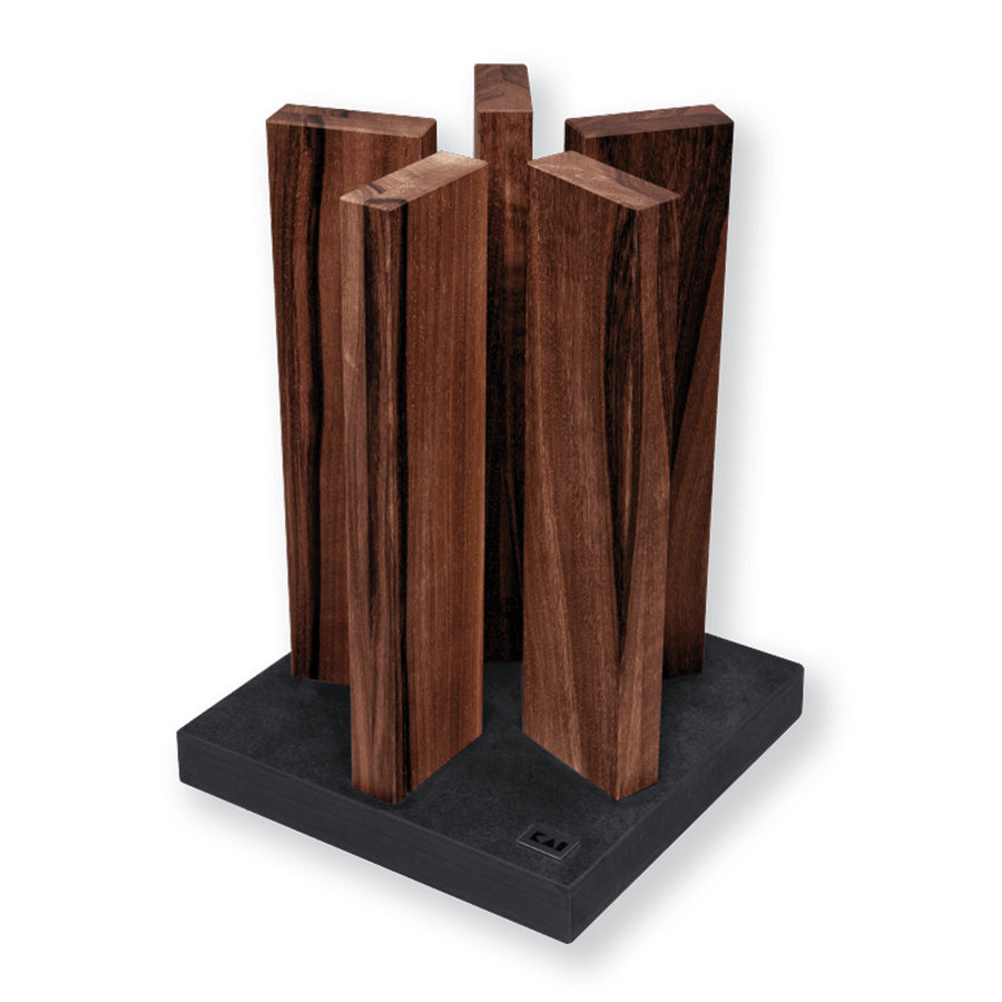 KAI Stonehenge 5 Pillar Walnut Knife Block with Slate Base