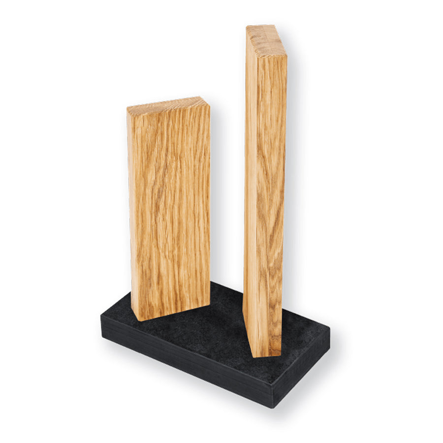 Kai Stonehenge 2 Pillar Oak Knife Block with Granite Base