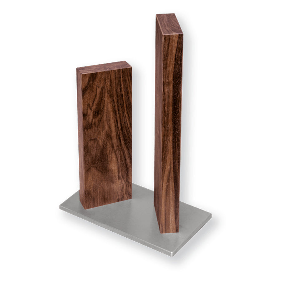 Kai Stonehenge 2 Pillar Walnut Knife Block with Stainless Steel Base