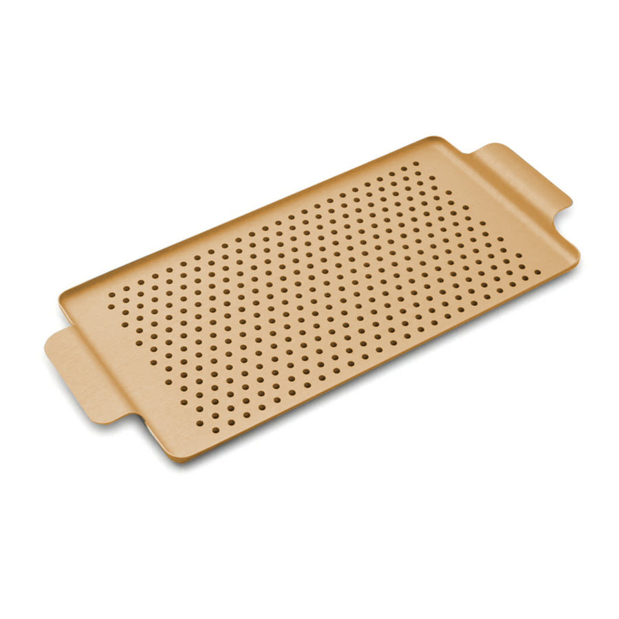 Kaymet Serving Tray Rectangle Gold and Rubber