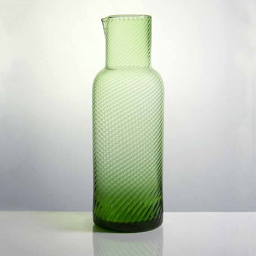 Lisbon Rippled Carafe / Dark Green