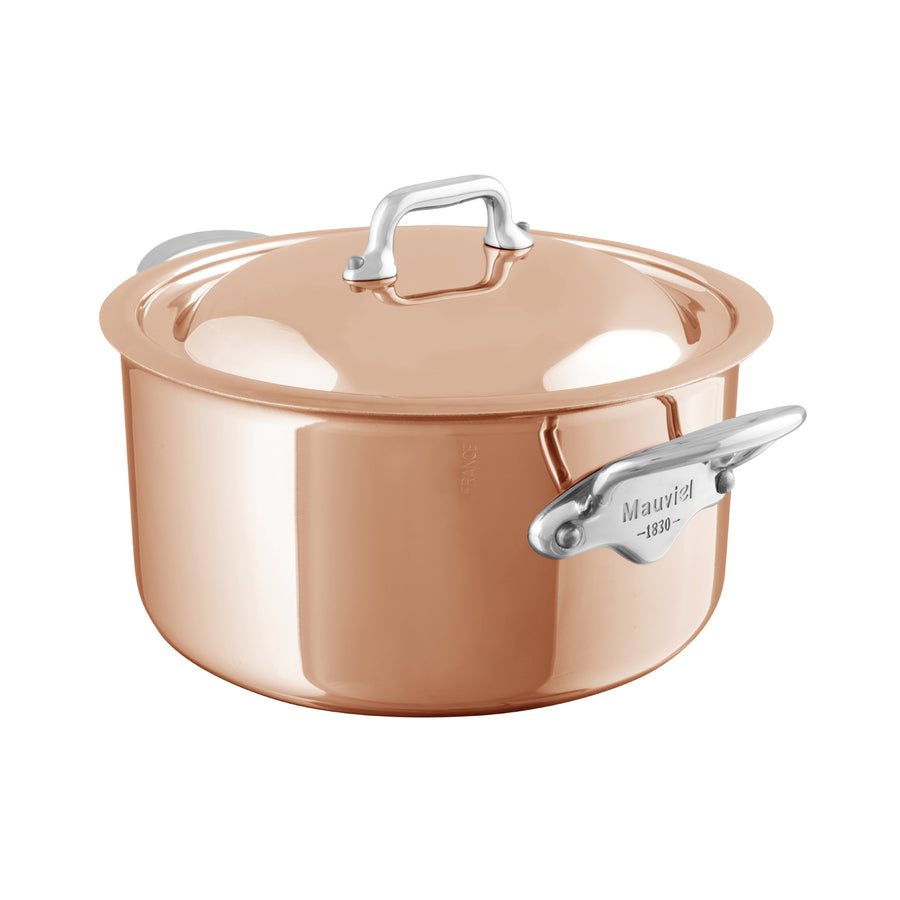Mauviel M'6S Induction Compatible Copper Casserole with Lid