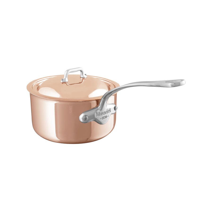 Mauviel M'6S Induction Compatible Copper Saucepan with Lid