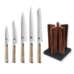 Miyabi 5000 MCD 5 Knife and Kai Block Set / Walnut Block