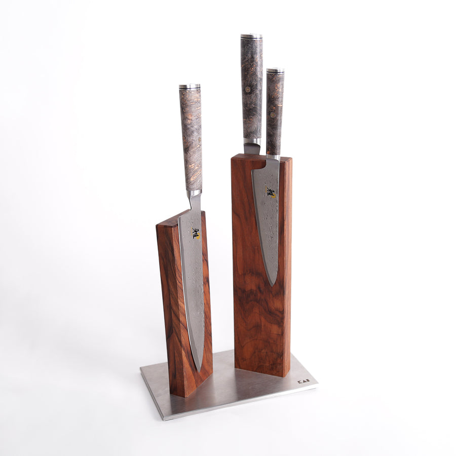 Miyabi 5000 MCD67 3 Knife and Kai Block Set / Walnut Block