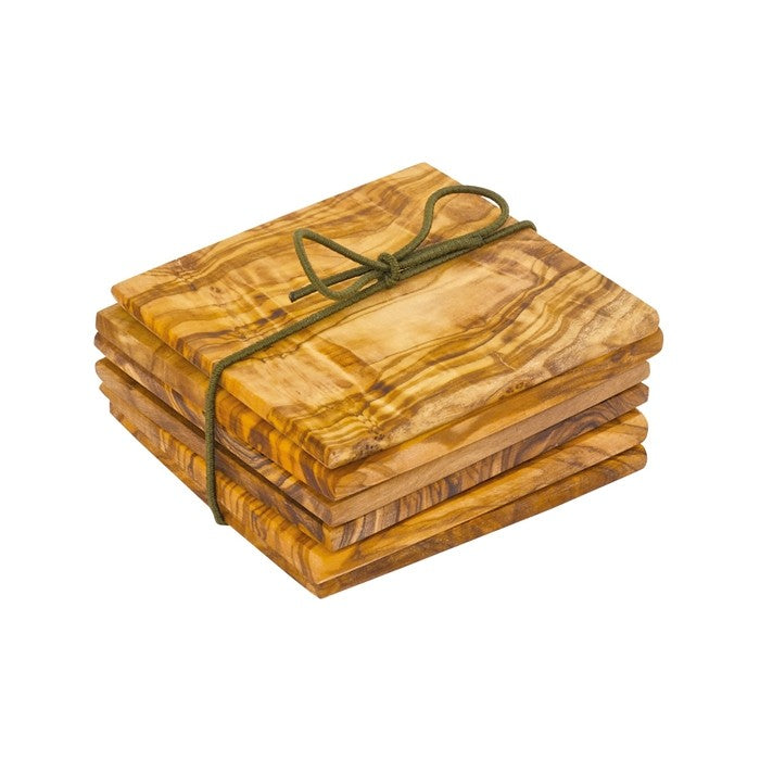 Redecker Olivewood Coasters / Pack of 6 / 9x9cm