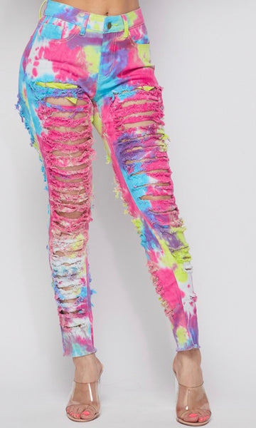 Tye-Dye Distressed Jeans