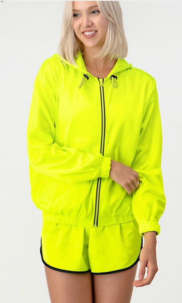 """It's cool"" water resistant neon jacket"